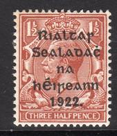 Ireland 1922 1½d Rialtas Black Overprint Definitive, 1st Thom Printing, Lightly Hinged Mint, SG 10 - 1922 Governo Provvisorio