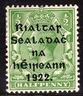 Ireland 1922 ½d Rialtas Black Overprint Definitive, 2nd Thom Printing, Heavily Hinged Mint, SG 30 - 1922 Governo Provvisorio
