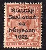 Ireland 1922 1½d Rialtas Black Overprint Definitive, 1st Thom Printing, Used, SG 10 - 1922 Governo Provvisorio