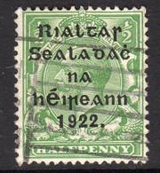 Ireland 1922 ½d Rialtas Black Overprint Definitive, 2nd Thom Printing, Used, SG 30 - 1922 Governo Provvisorio