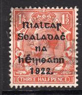 Ireland 1922 1½d Rialtas Black Overprint Definitive, 2nd Thom Printing, Used, SG 32 - 1922 Governo Provvisorio