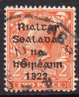 Ireland 1922 2d Die I Rialtas Black Overprint Definitive, 2nd Thom Printing, Used Part Skeleton Cancel, SG 33 - 1922 Governo Provvisorio