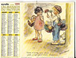 EYRELLE LA POSTE 19911 ALMANACH DU FACTEUR VOUS N'AVEZ PAS PLUS PETIT C'EST POUR MON CHAPEAU GERMAINE BOURET - Groot Formaat: 1991-00