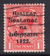 Ireland 1922 1d Rialtas Black Overprint Wide Setting Definitive, 3rd Thom Printing, Used, SG 48 - 1922 Governo Provvisorio