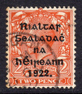 Ireland 1922 2d  Die II Rialtas Black Overprint Wide Setting Definitive, 3rd Thom Printing, Used, SG 50 - 1922 Governo Provvisorio