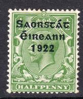 Ireland 1922 ½d Saorstat Overprint Definitive, Thom Printing, Heavily Hinged Mint, SG 52 - 1922-37 Stato Libero D'Irlanda