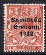 Ireland 1922 1½d Saorstat Overprint Definitive, Thom Printing, Hinged Mint, SG 54 - 1922-37 Stato Libero D'Irlanda