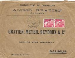 MARNE 51  - EPERNAY  -    CACHET RECETTE  R A6  -  AU TARIF 6 1 49  3e ECHELON   - 1950 - ENVEL. GDS VINS DE CHAMPAGNE - Handstempel