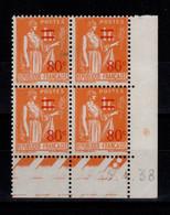 Coin Daté - YV 359 N** Paix Surchargé Du 13.4.38 - 1930-1939