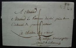 29 UZES (Uzès Gard) Marque 22 X 11 Sur Lettre Du Procureur Du Gard Au Procureur à Chalon Sur Saône - 1801-1848: Precursores XIX