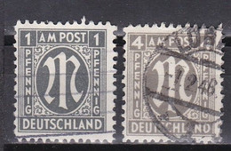 Men_ All. Besetzung Bizone AM Post - Mi.Nr. 16 + 18 C - Gestempelt Used - Zähnung C - American/British Zone