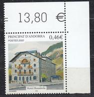 Andorra Fr. 2002  Hotel Rosaleda 1v (corner) ** Mnh (50230) - French Andorra