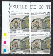 Andorra Fr. 2002  Hotel Rosaleda 1v Bl Of 4 (corner) ** Mnh (50230B) - French Andorra