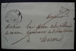 Tonneins 1835 Lot Et Garonne Lettre En Port Payé Pour Mâcon, Cachet De La Mairie De Tonneins Au Revers - Postmark Collection (Covers)