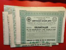 RUSSIE / LOT : 3 X COMPAGNIE DU CHEMIN DE FER SEMIRETCHENSK ( Est - Turkestan ) 1913 - Rusland