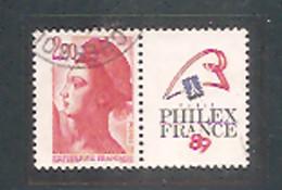 LIBERTE 1987. N°2461 - 2 F.20 Rouge.Oblitéré. PHILEXFRANCE 89. Expo. Philatélique Mondiale. - 1982-90 Vrijheid Van Gandon
