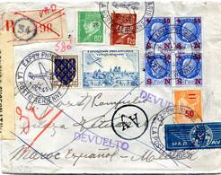 FRANCE LETTRE RECOMMANDEE PAR AVION CENSUREE DEPART EXPon PHILque PARIS 4 OCT 43 LA POSTE AERIENNE POUR LE MAROC........ - 1927-1959 Briefe & Dokumente