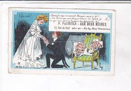 PETITE CARTE DE VISITE  AUX DEUX NEGRES  VETEMENTS D OCCASION  A PARIS - Visiting Cards