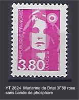 "FR Variétés YT 2624 "" Marianne De Briat 3F80 Rose "" Sans Bande De Phosphore - Variétés: 1990-99 Neufs"