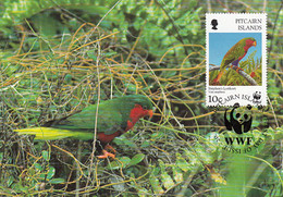 Pitcairn Islands 1996 Maxicard Sc #458 10c Stephen's Lorikeet WWF - Stamps