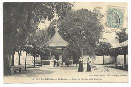 17-ILE D'OLERON-ST-DENIS-Place De L'Eglise Et Le Kiosque...1905  Animé - Ile D'Oléron