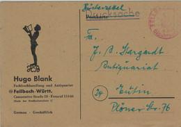Gebühr Bezahlt - Bücherzettel Illustriert - Hugo Blank Fellbach - 1.10.1948 - Einkreisstempel Rot - Französische Zone