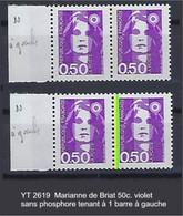 """FR Variétés YT 2619 """" Marianne De Briat 50c. Violet """" Sans Phosphore Tenant à 1 Barre à Gauche - Varieteiten: 1990-99 Postfris"""
