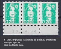 """FR Variétés YT 2618 Triptyque """" Marianne De Briat 20c. émeraude"""" Sans Phosphore BDF Daté - Variétés: 1990-99 Neufs"""