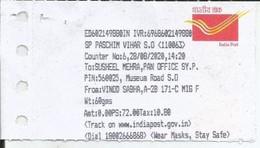 "Coronavirus ,Covid-19, Deadly Disease India Post Office Receipt With Slogan ""Wear Mask,Stay Safe"" - Disease"