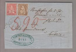 CH Heimat AG Muri 1869-04-11 Nachnahme Mit Sitzende 10 +5 Rp. - 1862-1881 Sitted Helvetia (perforates)