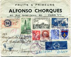 FRANCE LETTRE RECOMMANDEE PAR AVION CENSUREE DEPART EXPon PHILque PARIS 4 OCT 43 LA POSTE AERIENNE POUR LE MAROC........ - Airmail