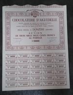 ACTION DE 3200 F - CHOCOLATERIE D'AIGUEBELLE A DONZERE 26 DROME - - Industrie