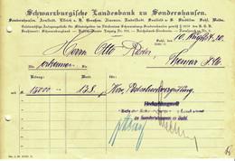 "Sondershausen Thüringen 1920 Deko Rechnung "" Schwarzburgische Landesbank Arnstadt Ellrich Ilmenau Saalfeld Suhl Weida  "" - Banco & Caja De Ahorros"