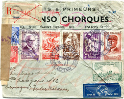 FRANCE LETTRE RECOMMANDEE PAR AVION CENSUREE DEPART EXPon PHILque PARIS 4 OCT 43 LA POSTE AERIENNE POUR LES BALEARES - 1927-1959 Briefe & Dokumente