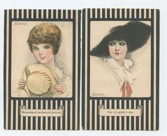Mauzan, 2 Postcards, Lady, Woman With Hat   (2 Scans) - Mauzan, L.A.