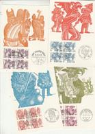 Suisse Carte Maximum X 6 Yvert 1034 + 1036 à 1040 Bloc De 4 Coutumes Populaires 1977 - 1978 Avec Pochette - Cartes-Maximum (CM)
