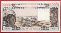 N°198 BILLET DE BANQUE DE 5000 FRANCS COTE D'IVOIRE 1978 SPL - Côte D'Ivoire