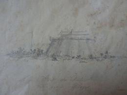 """Dessin Ancien, Le """"Fort Paté"""" Vue De Blaye En En 1824 - Stiche & Gravuren"""