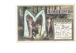 """Cpa - Prénom MARGUERITE - Femme épaule Nue Attelage Cygne Coquille St Jacques Bébé - Lettre Alphabet """"M"""" - Guirlande - Firstnames"""