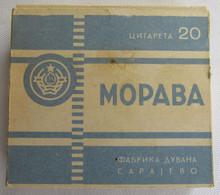 MORAVA - FACTORY SARAJEVO YUGOSLAVIA, TOBACCO ORIGINAL BOX WITH CIGARETTES INSIDE - Zigarettenzubehör