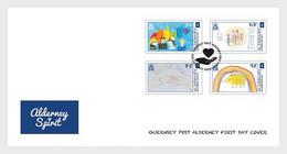 ALDERNEY FDC 2020/FAMILY SPIRIT-CAMPAIGN FOR COVID-COMPLETE SET - Alderney