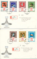 Hungary Registered FDC 8-7-1976 Olympic Games Montreal Complete Set Of 7 On 2 Covers With Cachet - Covers & Documents