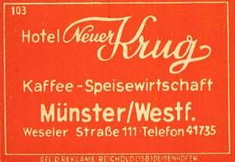 1 Altes Gasthausetikett, Hotel Neuer Krug, Münster/Westf., Weseler Straße 111 #1035 - Matchbox Labels