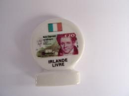 Fève Plate Avec Socle : Série Passage à L'euro : Irlande Livre ( Billet , Drapeau) - - History