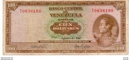 Venezuela P.49 100 Bolivares 1967 Vf - Venezuela