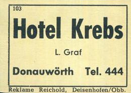 1 Altes Gasthausetikett, Hotel Krebs, L. Graf, Donauwörth #1037 - Matchbox Labels