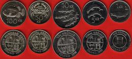 Iceland Set Of 5 Coins: 1 - 100 Kronur 1987-2011 UNC - Iceland