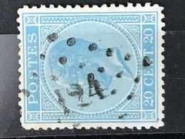 Leopold I Profiel OBP 18 - 20 Centimes - LP124 Feluy Arquennes - 1865-1866 Profilo Sinistro