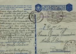 """Storia Postale-"""" CARTOLINA POSTALE PER LE FORZE ARMATE-FRANCHIGIA-P.MILITARE N°10-26/7/1942-DRUENTO- - Old Paper"""
