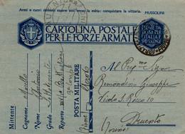"""Storia Postale-"""" CARTOLINA POSTALE PER LE FORZE ARMATE-FRANCHIGIA-P.MILITARE N°10-31/3/1942-DRUENTO- - Old Paper"""